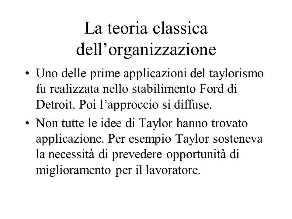 La teoria classica dellorganizzazione Uno delle prime applicazioni del taylorismo fu realizzata nello stabilimento Ford di Detroit.
