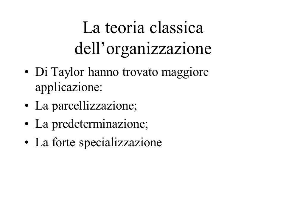 La teoria classica dellorganizzazione Di Taylor hanno trovato maggiore applicazione: La parcellizzazione; La predeterminazione; La forte specializzazione