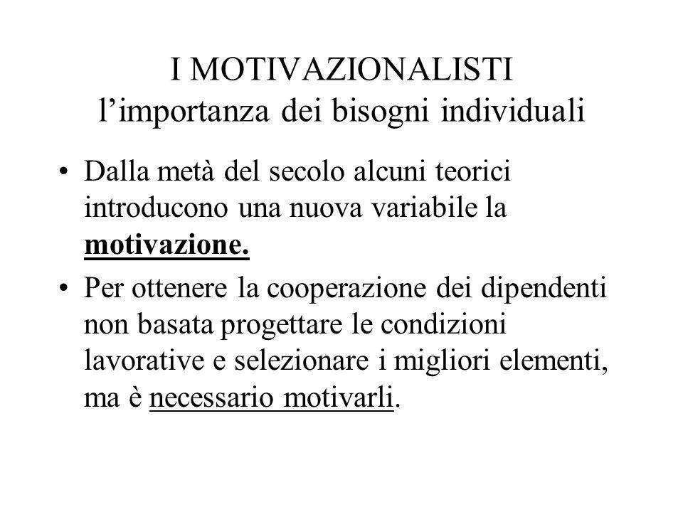 I MOTIVAZIONALISTI limportanza dei bisogni individuali Dalla metà del secolo alcuni teorici introducono una nuova variabile la motivazione.