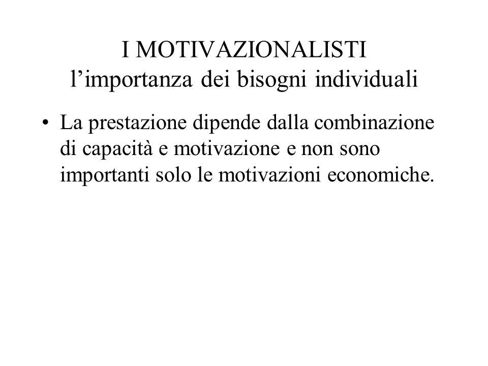 I MOTIVAZIONALISTI limportanza dei bisogni individuali La prestazione dipende dalla combinazione di capacità e motivazione e non sono importanti solo le motivazioni economiche.