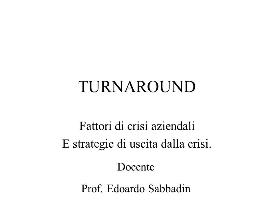 TURNAROUND Fattori di crisi aziendali E strategie di uscita dalla crisi. Docente Prof. Edoardo Sabbadin