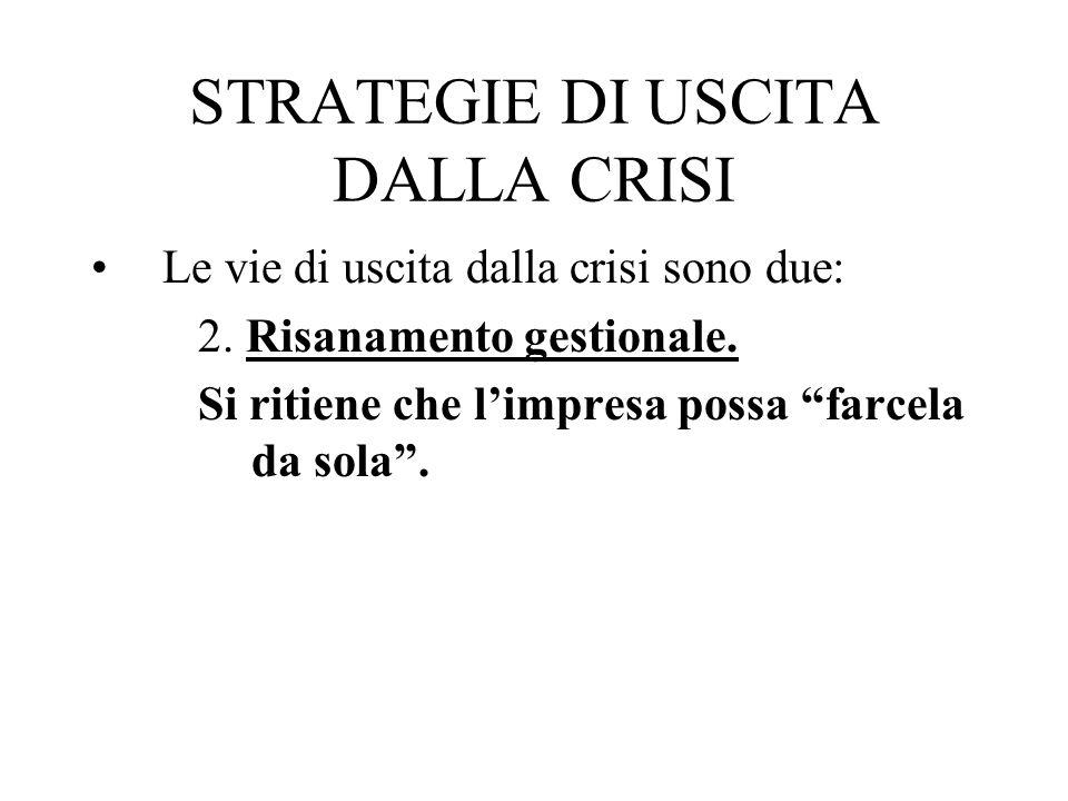 STRATEGIE DI USCITA DALLA CRISI Le vie di uscita dalla crisi sono due: 2. Risanamento gestionale. Si ritiene che limpresa possa farcela da sola.