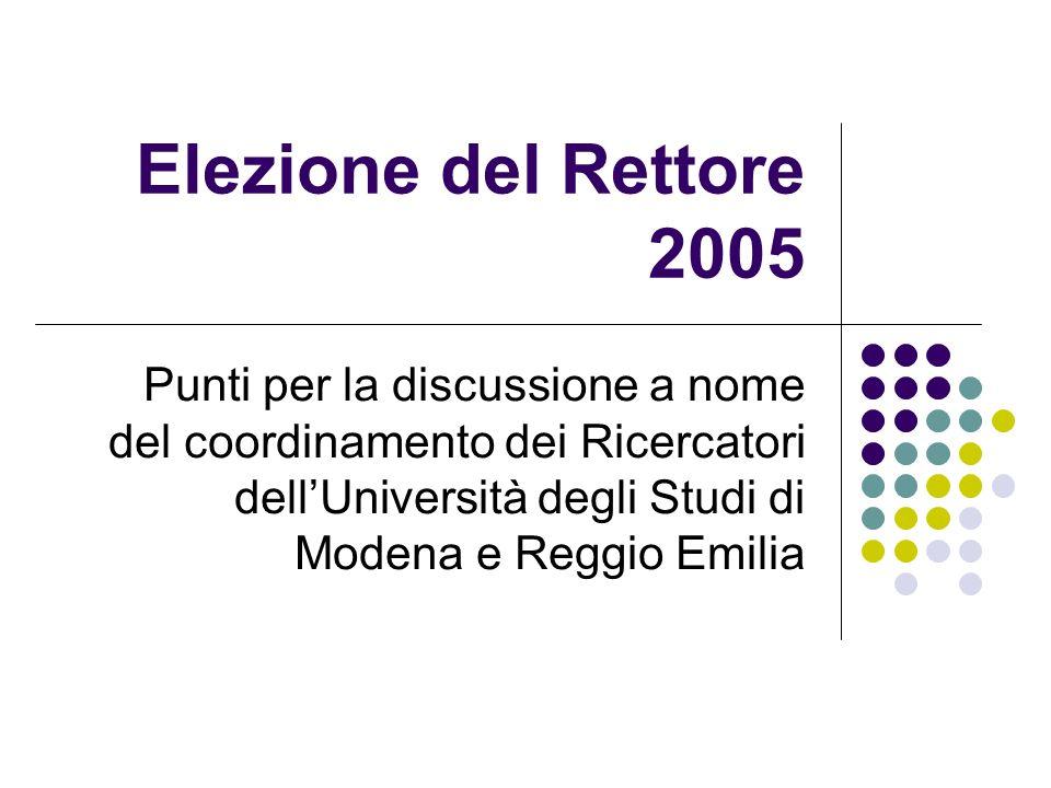 Elezione del Rettore 2005 Punti per la discussione a nome del coordinamento dei Ricercatori dellUniversità degli Studi di Modena e Reggio Emilia