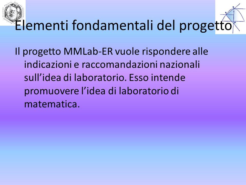 Elementi fondamentali del progetto Il progetto MMLab-ER vuole rispondere alle indicazioni e raccomandazioni nazionali sullidea di laboratorio. Esso in