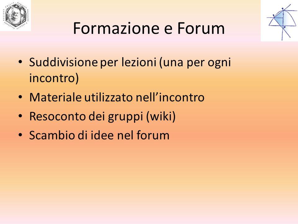 Formazione e Forum Suddivisione per lezioni (una per ogni incontro) Materiale utilizzato nellincontro Resoconto dei gruppi (wiki) Scambio di idee nel