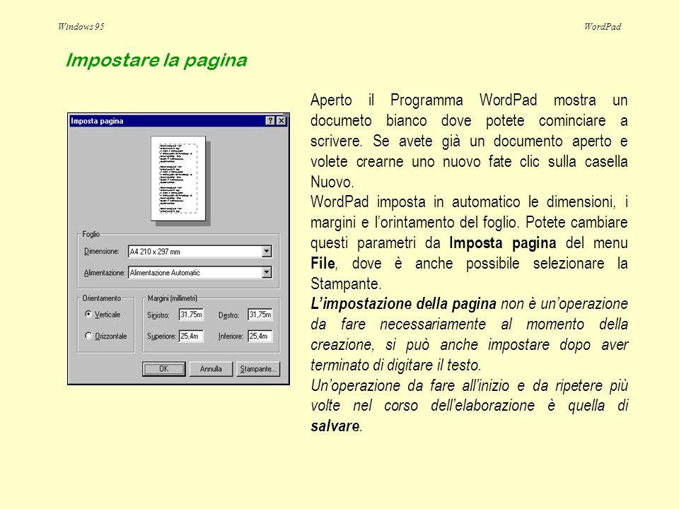 Windows 95WordPad Aperto il Programma WordPad mostra un documeto bianco dove potete cominciare a scrivere. Se avete già un documento aperto e volete c