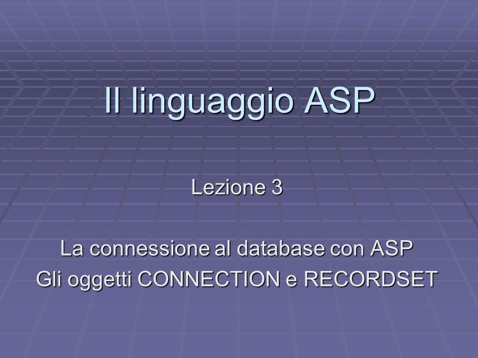 Il linguaggio ASP Lezione 3 La connessione al database con ASP Gli oggetti CONNECTION e RECORDSET