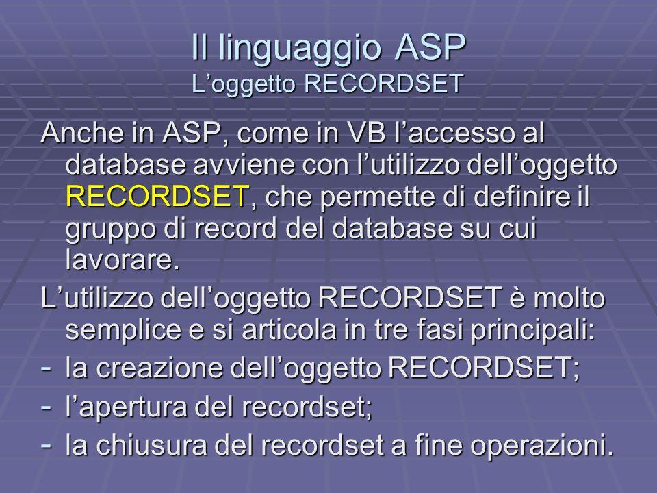 Il linguaggio ASP Loggetto RECORDSET Anche in ASP, come in VB laccesso al database avviene con lutilizzo delloggetto RECORDSET, che permette di definire il gruppo di record del database su cui lavorare.