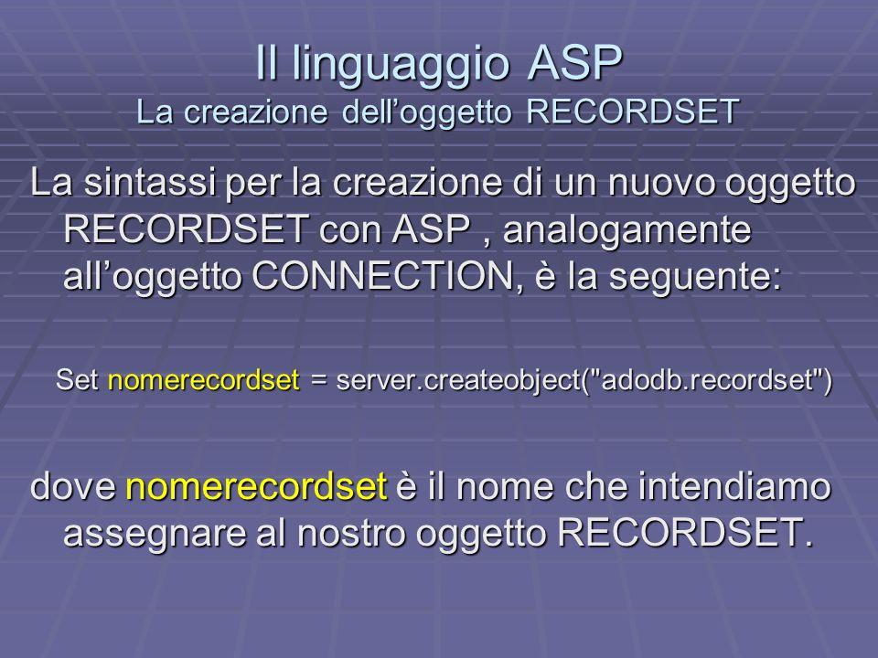 Il linguaggio ASP La creazione delloggetto RECORDSET La sintassi per la creazione di un nuovo oggetto RECORDSET con ASP, analogamente alloggetto CONNECTION, è la seguente: Set nomerecordset = server.createobject( adodb.recordset ) dove nomerecordset è il nome che intendiamo assegnare al nostro oggetto RECORDSET.