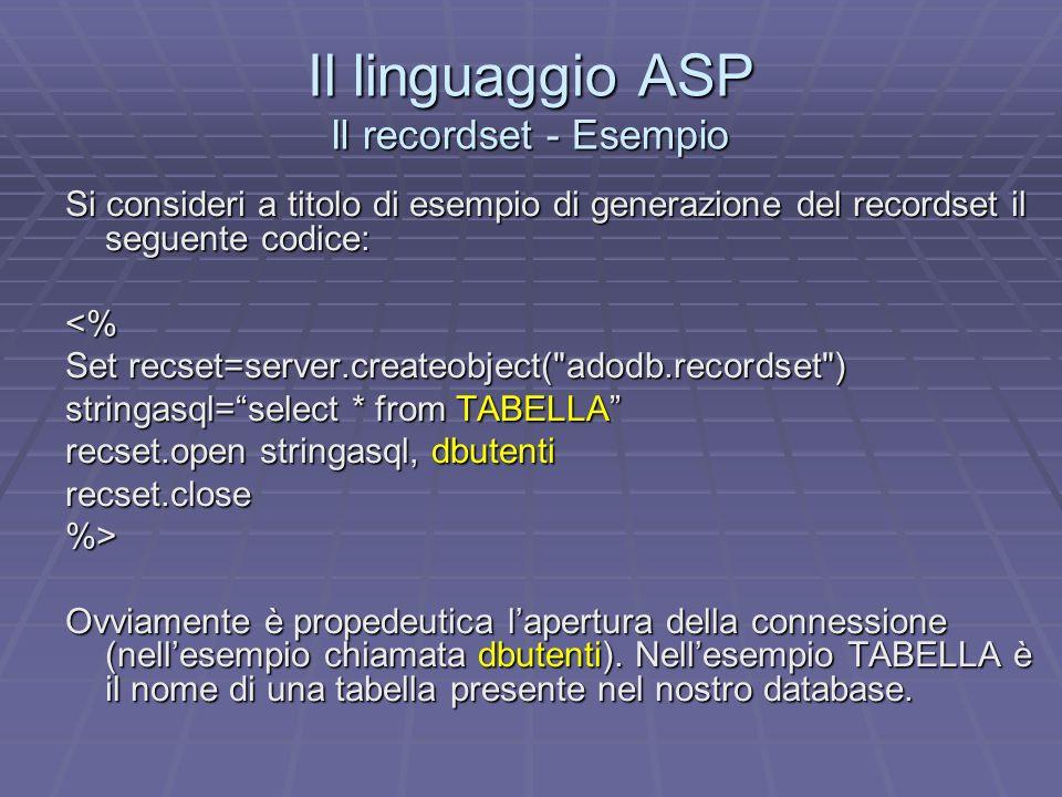 Il linguaggio ASP Il recordset - Esempio Si consideri a titolo di esempio di generazione del recordset il seguente codice: <% Set recset=server.createobject( adodb.recordset ) stringasql=select * from TABELLA recset.open stringasql, dbutenti recset.close%> Ovviamente è propedeutica lapertura della connessione (nellesempio chiamata dbutenti).
