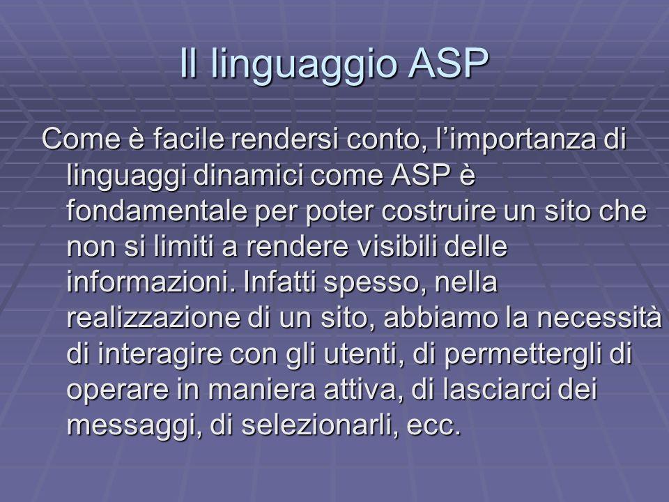 Il linguaggio ASP Come è facile rendersi conto, limportanza di linguaggi dinamici come ASP è fondamentale per poter costruire un sito che non si limit