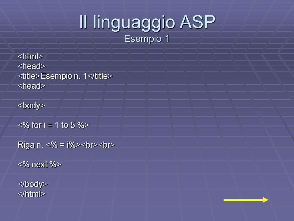 Il linguaggio ASP Esempio 1 <html><head> Esempio n. 1 Esempio n. 1 <head><body> Riga n. Riga n. </body></html>
