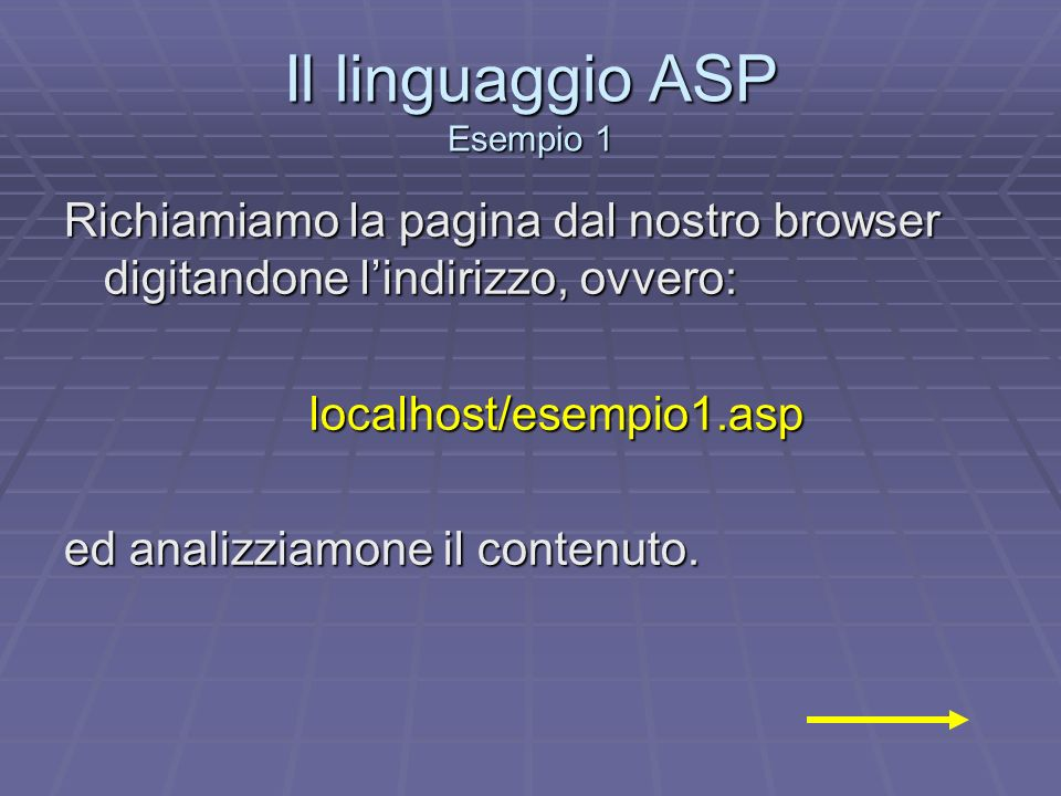 Il linguaggio ASP Esempio 1 Richiamiamo la pagina dal nostro browser digitandone lindirizzo, ovvero: localhost/esempio1.asp ed analizziamone il conten