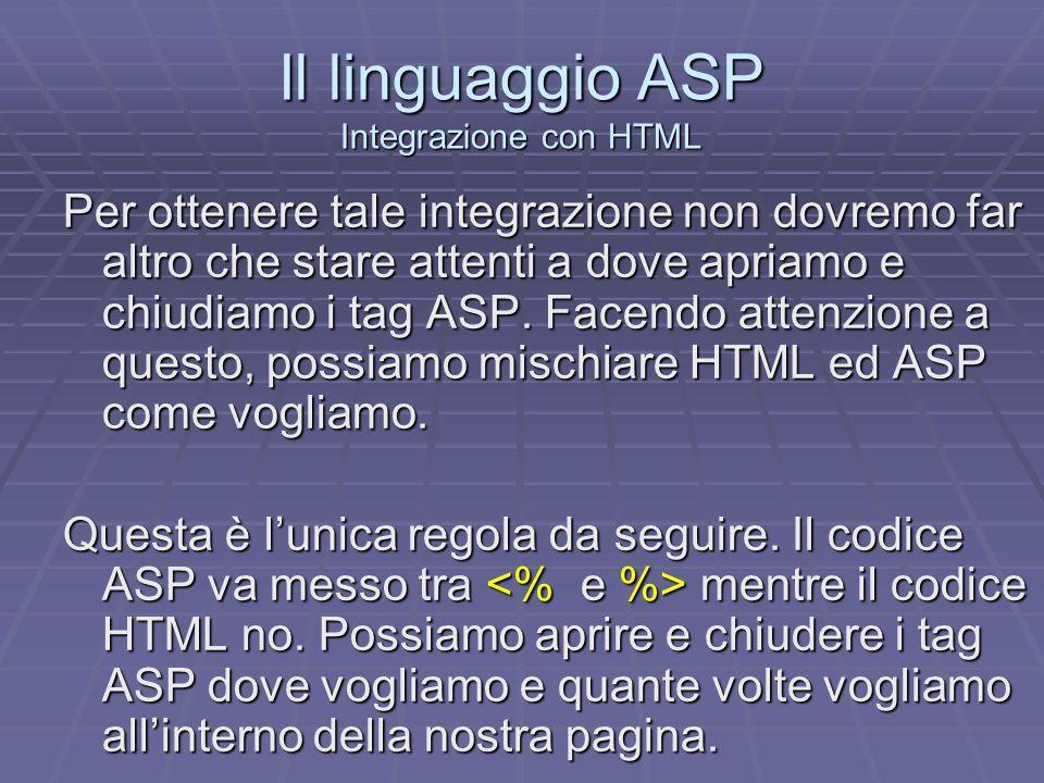 Il linguaggio ASP Esempio 1 <html><head> Esempio n.