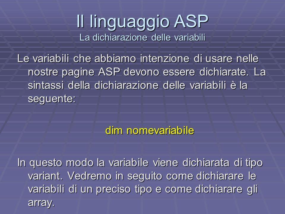 Il linguaggio ASP La dichiarazione delle variabili Le variabili che abbiamo intenzione di usare nelle nostre pagine ASP devono essere dichiarate. La s