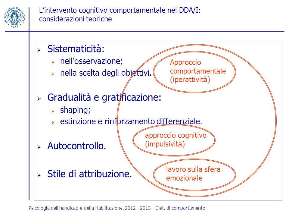 Lintervento cognitivo comportamentale nel DDA/I: considerazioni teoriche Sistematicità: nellosservazione; nella scelta degli obiettivi. Gradualità e g