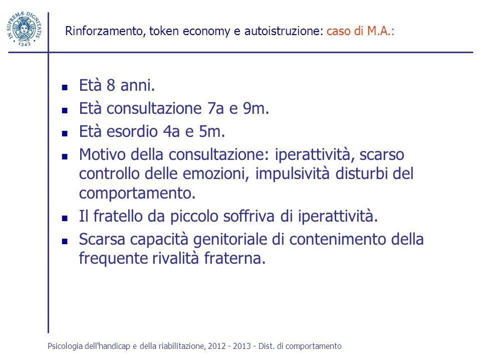 Rinforzamento, token economy e autoistruzione: caso di M.A.: Età 8 anni. Età consultazione 7a e 9m. Età esordio 4a e 5m. Motivo della consultazione: i