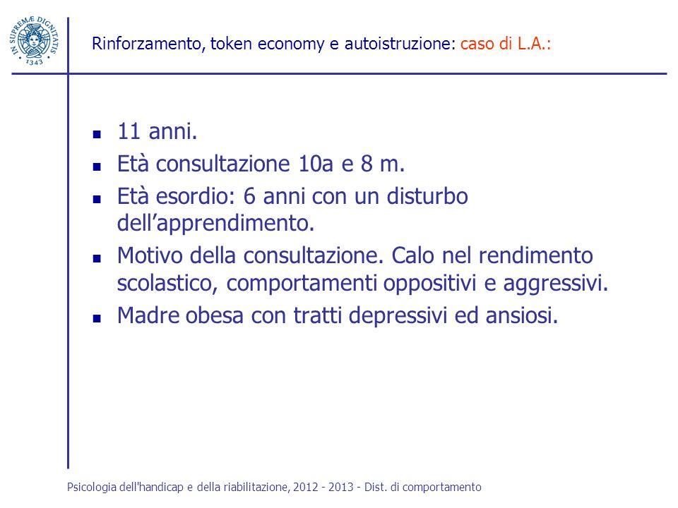Rinforzamento, token economy e autoistruzione: caso di L.A.: 11 anni. Età consultazione 10a e 8 m. Età esordio: 6 anni con un disturbo dellapprendimen
