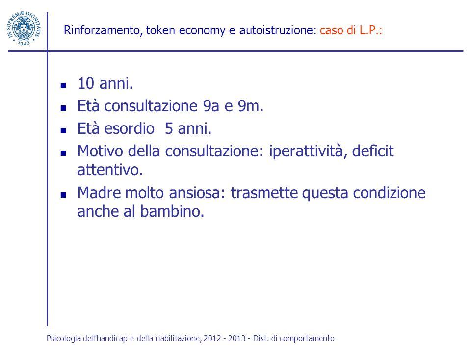 Rinforzamento, token economy e autoistruzione: caso di L.P.: 10 anni. Età consultazione 9a e 9m. Età esordio 5 anni. Motivo della consultazione: ipera