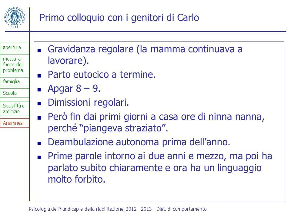 Primo colloquio con i genitori di Carlo Gravidanza regolare (la mamma continuava a lavorare). Parto eutocico a termine. Apgar 8 – 9. Dimissioni regola
