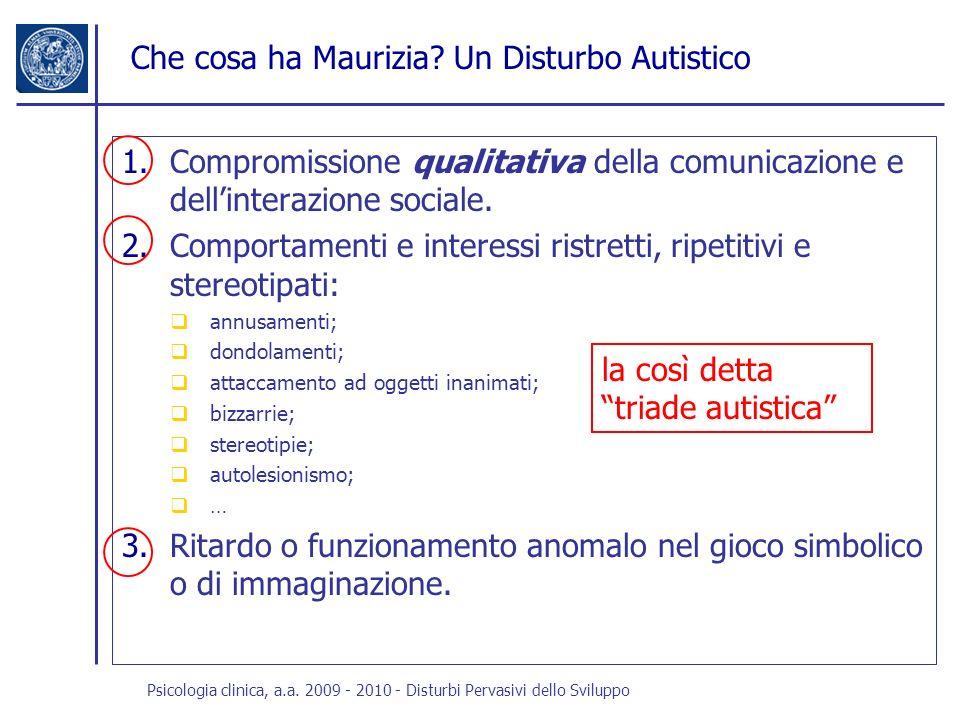 Che cosa ha Maurizia? Un Disturbo Autistico 1.Compromissione qualitativa della comunicazione e dellinterazione sociale. 2.Comportamenti e interessi ri