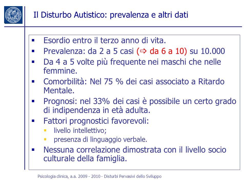 Psicologia clinica, a.a. 2009 - 2010 - Disturbi Pervasivi dello Sviluppo Il Disturbo Autistico: prevalenza e altri dati Esordio entro il terzo anno di