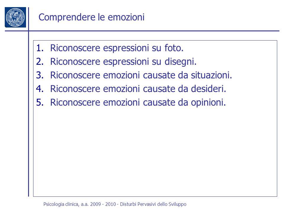 Psicologia clinica, a.a. 2009 - 2010 - Disturbi Pervasivi dello Sviluppo Comprendere le emozioni 1.Riconoscere espressioni su foto. 2.Riconoscere espr