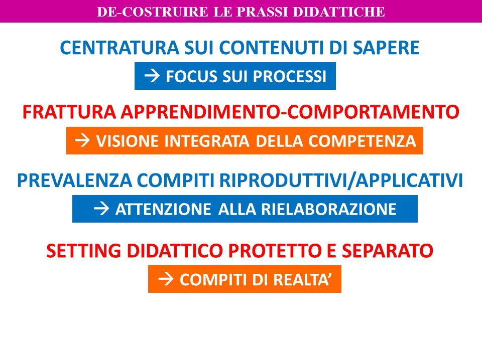 SETTING DIDATTICO PROTETTO E SEPARATO PREVALENZA COMPITI RIPRODUTTIVI/APPLICATIVI FRATTURA APPRENDIMENTO-COMPORTAMENTO CENTRATURA SUI CONTENUTI DI SAP