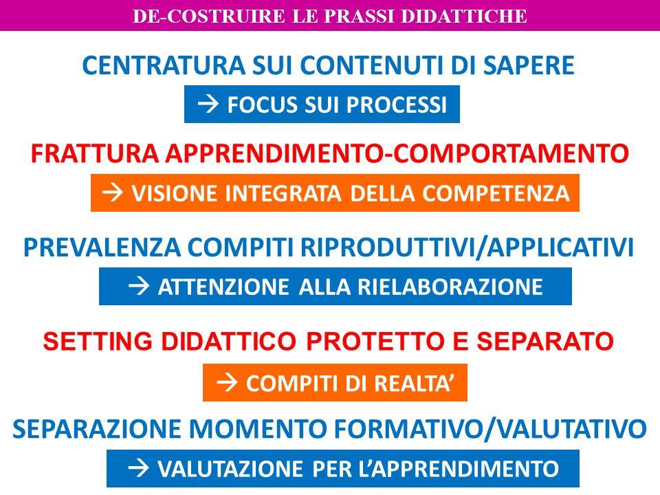 SEPARAZIONE MOMENTO FORMATIVO/VALUTATIVO SETTING DIDATTICO PROTETTO E SEPARATO PREVALENZA COMPITI RIPRODUTTIVI/APPLICATIVI FRATTURA APPRENDIMENTO-COMP
