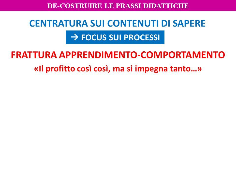 FRATTURA APPRENDIMENTO-COMPORTAMENTO «Il profitto così così, ma si impegna tanto…» CENTRATURA SUI CONTENUTI DI SAPERE FOCUS SUI PROCESSI