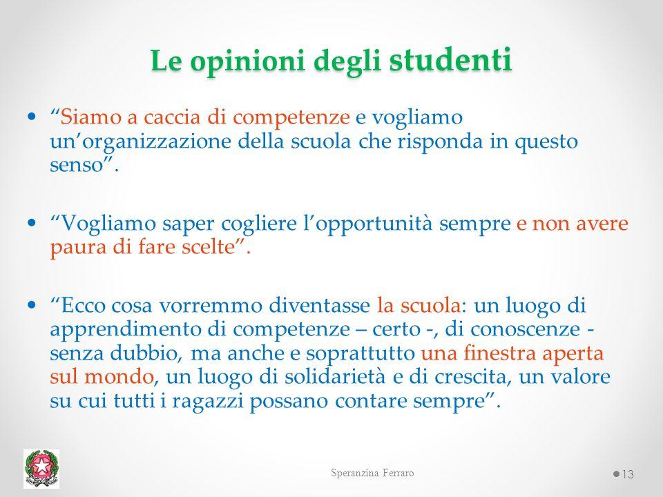 13 Le opinioni degli studenti Siamo a caccia di competenze e vogliamo unorganizzazione della scuola che risponda in questo senso.