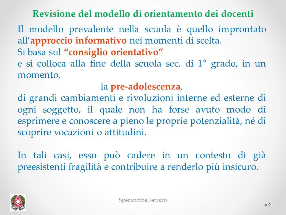 9 Revisione del modello di orientamento dei docenti Il modello prevalente nella scuola è quello improntato allapproccio informativo nei momenti di scelta.