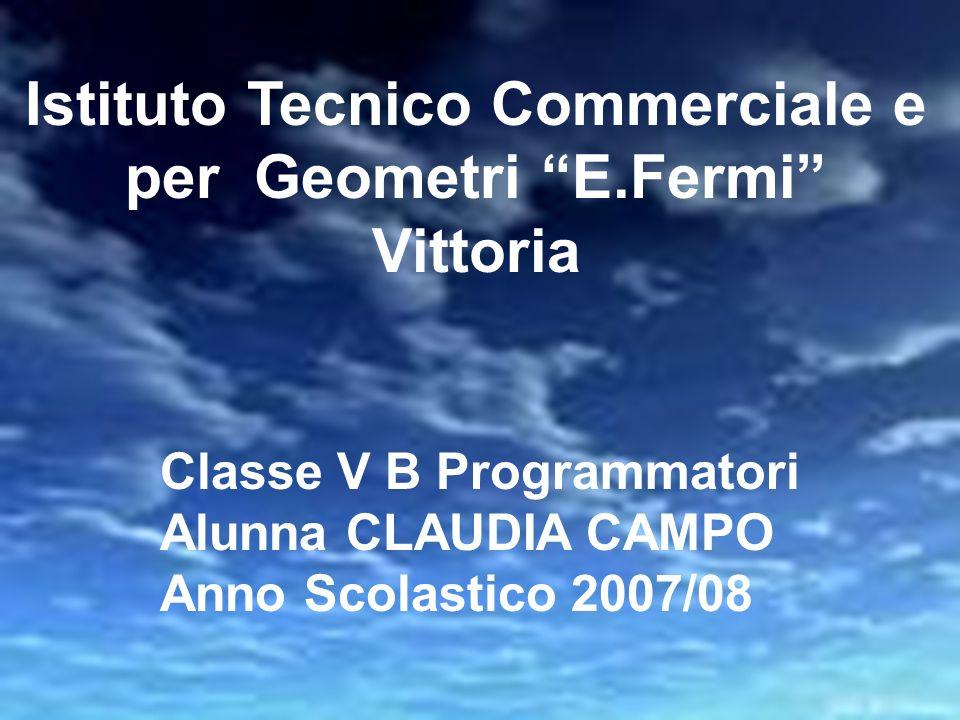 Istituto Tecnico Commerciale e per Geometri E.Fermi Vittoria Classe V B Programmatori Alunna CLAUDIA CAMPO Anno Scolastico 2007/08