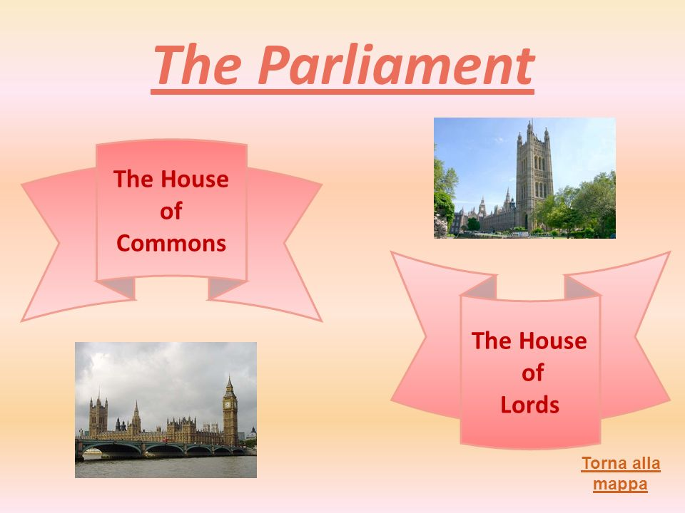 The Parliament Torna alla mappa The House of Commons The House of Lords