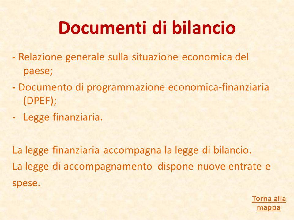 Documenti di bilancio - Relazione generale sulla situazione economica del paese; - Documento di programmazione economica-finanziaria (DPEF); -Legge finanziaria.