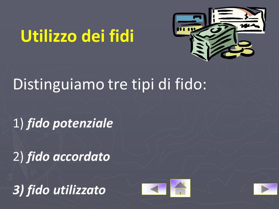 Tecnica: I fidi Classificazione dei fidi SECONDO I LIMITI DI UTILIZZO Fido particolare Fido generale SECONDO LOBBLIGO PRINCIPALE DI PAGAMENTO Fido ind