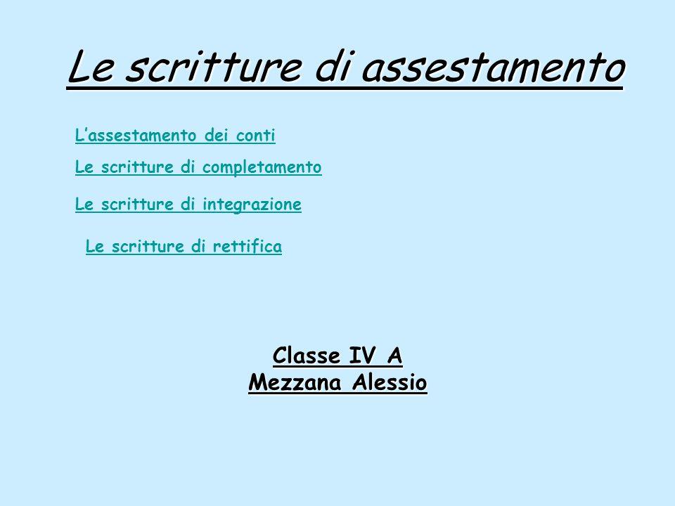 Le scritture di assestamento Classe IV A Mezzana Alessio Lassestamento dei conti Le scritture di completamento Le scritture di integrazione Le scrittu