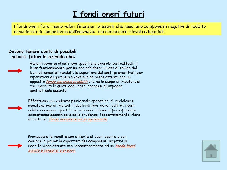I fondi oneri futuri I fondi oneri futuri sono valori finanziari presunti che misurano componenti negativi di reddito considerati di competenza delles