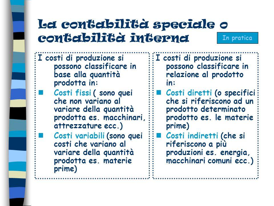 La contabilità speciale o contabilità interna I costi di produzione si possono classificare in base alla quantità prodotta in: Costi fissi ( sono quei che non variano al variare della quantità prodotta es.
