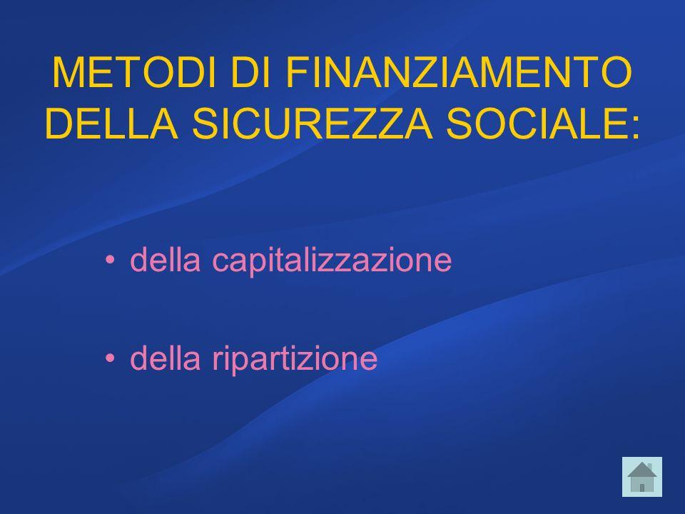METODI DI FINANZIAMENTO DELLA SICUREZZA SOCIALE: della capitalizzazione della ripartizione