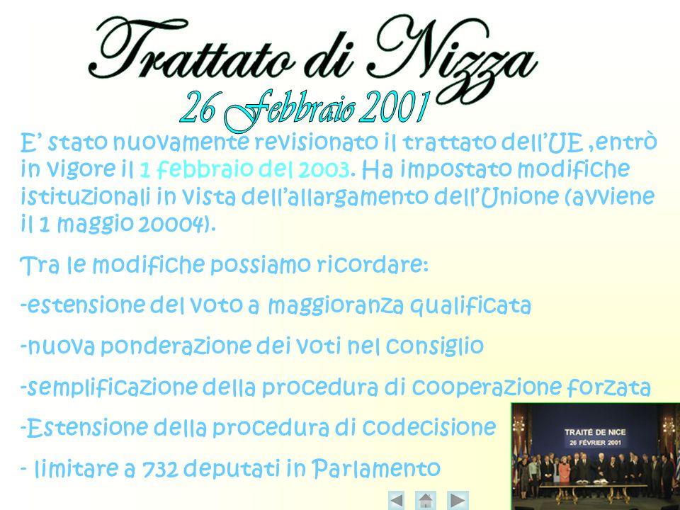 E stato nuovamente revisionato il trattato dellUE,entrò in vigore il 1 febbraio del 2003.