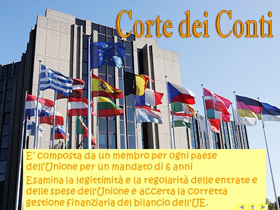 E composta da un membro per ogni paese dellUnione per un mandato di 6 anni Esamina la legittimità e la regolarità delle entrate e delle spese dell Unione e accerta la corretta gestione finanziaria del bilancio dell UE.