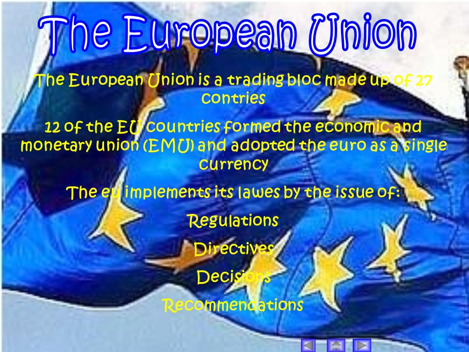 The European Union is a trading bloc made up of 27 contries 12 of the EU countries formed the economic and monetary union (EMU) and adopted the euro a