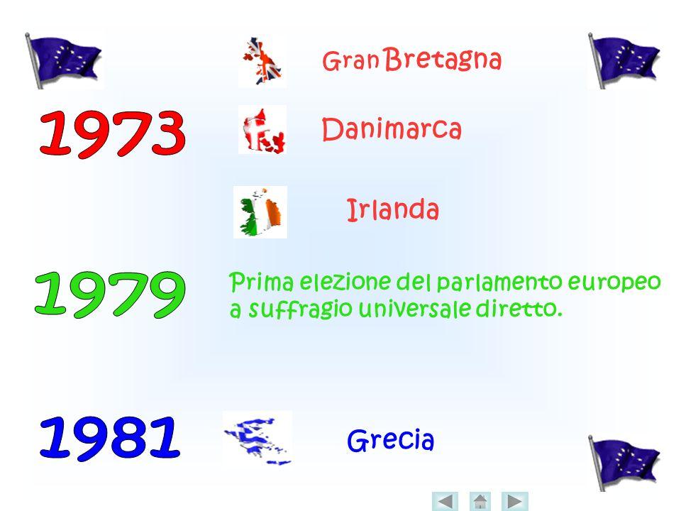 Gran Bretagna Danimarca Irlanda Prima elezione del parlamento europeo a suffragio universale diretto.
