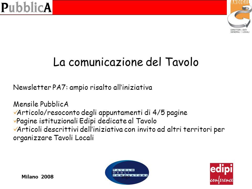 Milano 2008logo La comunicazione del Tavolo Newsletter PA7: ampio risalto alliniziativa Mensile PubblicA Articolo/resoconto degli appuntamenti di 4/5