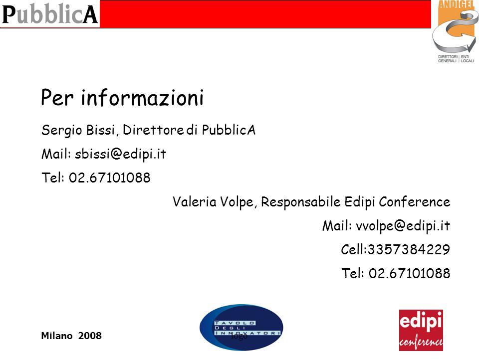 Milano 2008logo Per informazioni Sergio Bissi, Direttore di PubblicA Mail: sbissi@edipi.it Tel: 02.67101088 Valeria Volpe, Responsabile Edipi Conference Mail: vvolpe@edipi.it Cell:3357384229 Tel: 02.67101088