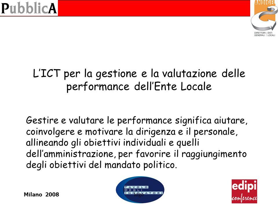 Milano 2008logo LICT per la gestione e la valutazione delle performance dellEnte Locale Gestire e valutare le performance significa aiutare, coinvolgere e motivare la dirigenza e il personale, allineando gli obiettivi individuali e quelli dellamministrazione, per favorire il raggiungimento degli obiettivi del mandato politico.