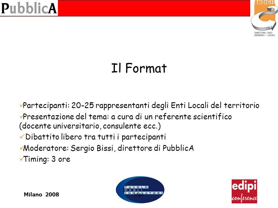 Milano 2008logo Il Format Partecipanti: 20-25 rappresentanti degli Enti Locali del territorio Presentazione del tema: a cura di un referente scientifi