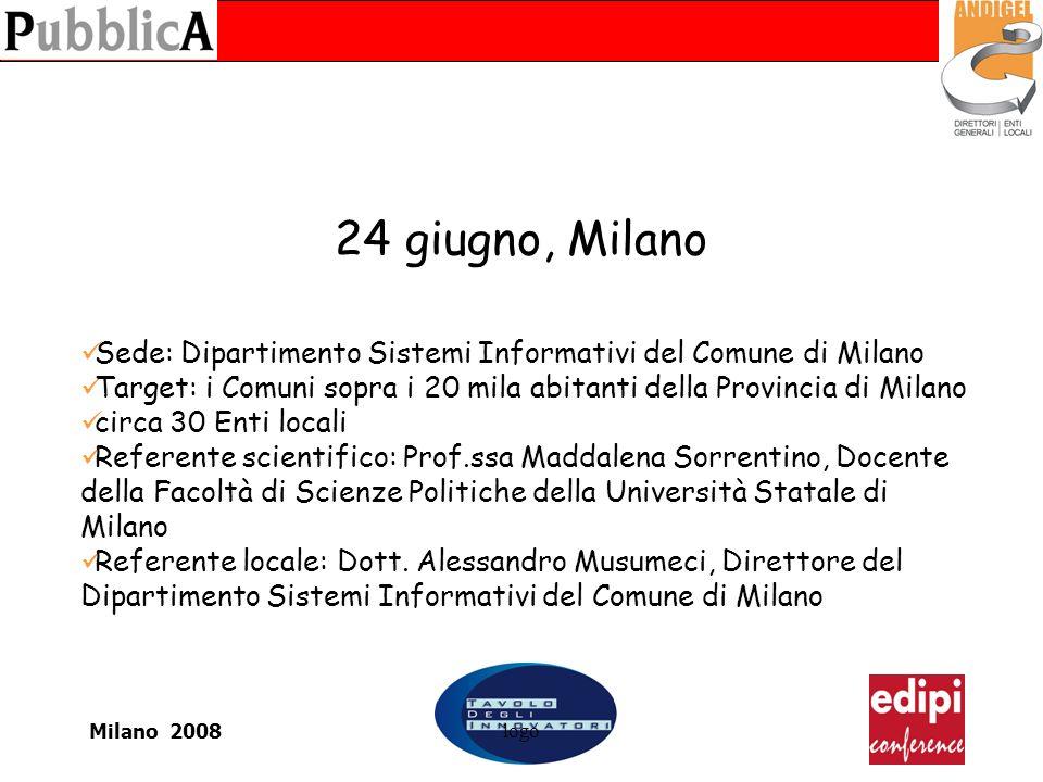Milano 2008logo 24 giugno, Milano Sede: Dipartimento Sistemi Informativi del Comune di Milano Target: i Comuni sopra i 20 mila abitanti della Provinci