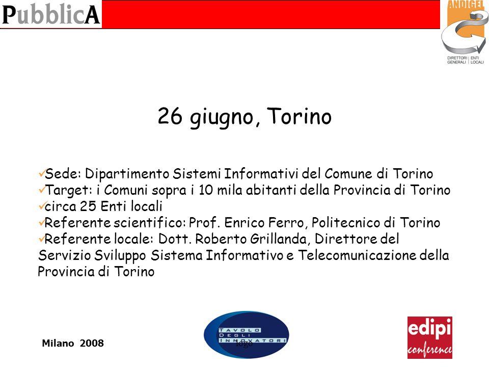 Milano 2008logo 26 giugno, Torino Sede: Dipartimento Sistemi Informativi del Comune di Torino Target: i Comuni sopra i 10 mila abitanti della Provincia di Torino circa 25 Enti locali Referente scientifico: Prof.